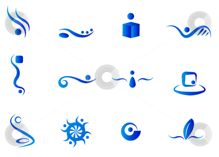 Blue Abstract Elements stock vector clipart, Icons and Logos in blue by Stephanie Soon