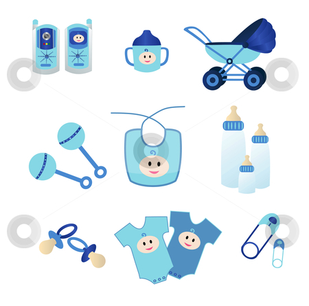Blue Baby Icons stock vector clipart, Icons of baby materials in Blue for boys by Stephanie Soon