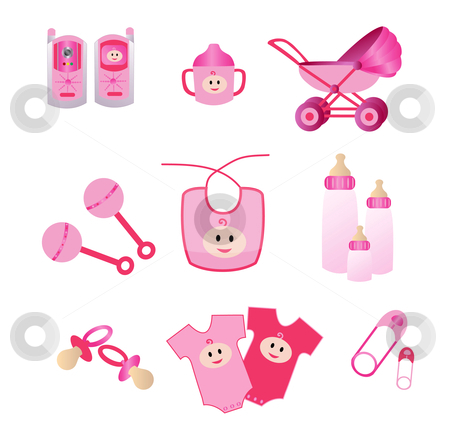 Pink Baby Icons stock vector clipart, Icons of baby materials in Pink for girls by Stephanie Soon