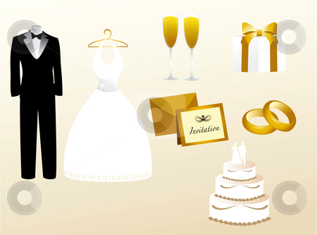 Wedding Icons stock vector clipart, Icon illustration of wedding elements in gold, white, silver, and black by Stephanie Soon