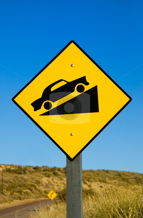 Traffic sign. stock photo, Traffic sign in a road in Patagonia. by Pablo Caridad
