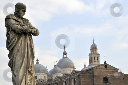 Prato della Valle, Padova, Padua, Veneto, Italy stock photo, Prato della Valle, Padua Italy Statue of philosopher in front of Basilica Saint Justine by Csaba Zsarnowszky