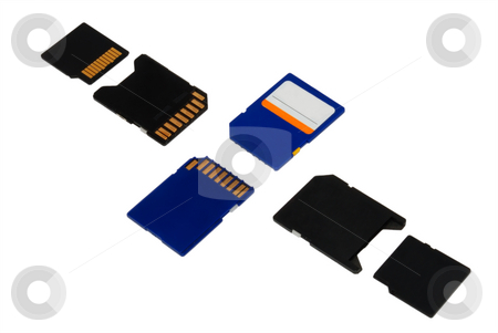 Cards and adapters stock photo, Memory card and their adapters over white by Ivan Paunovic