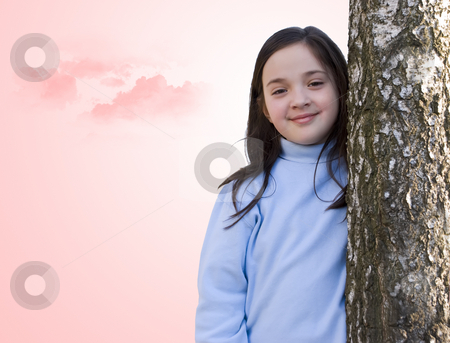 Angel stock photo, Beautiful little girl behind the tree, in the front of a pink sky by Ivan Paunovic