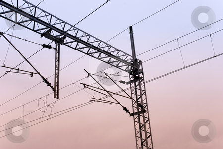 Railroad wires stock photo, Railroad wires in twilight by Ivan Paunovic