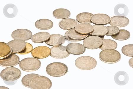 Coins stock photo, A close up of a money spread over white by Ivan Paunovic