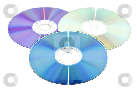 Three discs stock photo, Three discs isolated on a white background by Ivan Paunovic