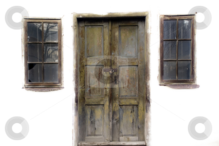 Entrance stock photo, Door and two windows on an old abandoned house by Ivan Paunovic