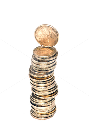 Money tower stock photo, Money tower made of coins over white by Ivan Paunovic