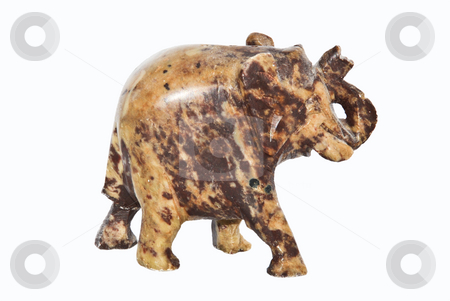 Elephant stock photo, Small elephant made of stone over white by Ivan Paunovic