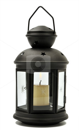 Candle lamp stock photo, Old-fashioned lamp with candle inside isolated on white by Csaba Zsarnowszky