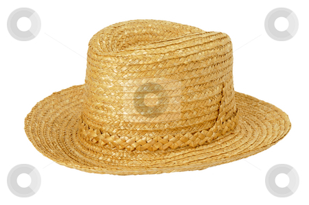 Straw hat stock photo, Hand made straw hat isolated on white by Csaba Zsarnowszky