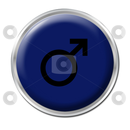 Male Button stock photo, Blue button with the symbol of a man; by Petr Koudelka