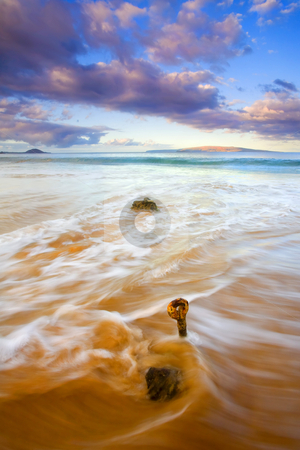 Tide to the Sea stock photo, A Eyebolt left from  an eroded and abandoned jetty awash in the waves of the incoming tide off the coast of Kihei , Maui, Hawaii. by Mike Dawson