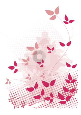Pink, grunge design with leaves stock photo, Pink, grunge design with leaves and halftones by Juliet Photography