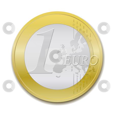 Euro coin stock vector clipart, One euro coin, vector illustration by Tilo