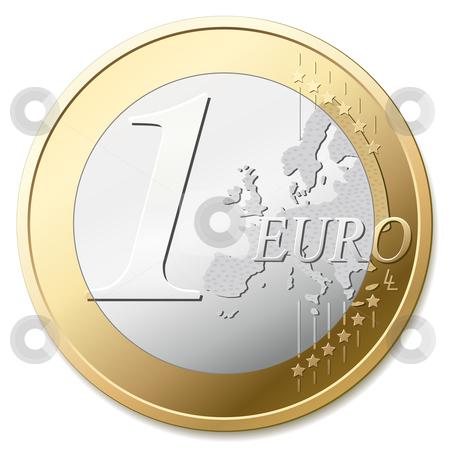 Euro coin stock vector clipart, One euro coin, vector illustration by Tilo