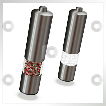 Salt n Pepper stock vector clipart, Salt n Pepper electric mills, vector illustration by Tilo