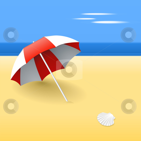 Red beach umbrella stock vector clipart, Beach umbrella on a beach, with a scallop shell by Tilo