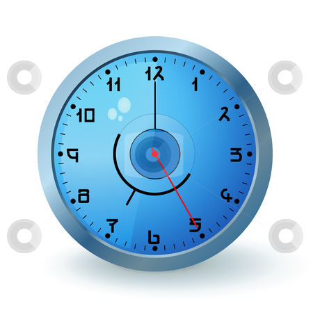 Blue clock stock vector clipart, Blue wall clock with a metal round by Tilo