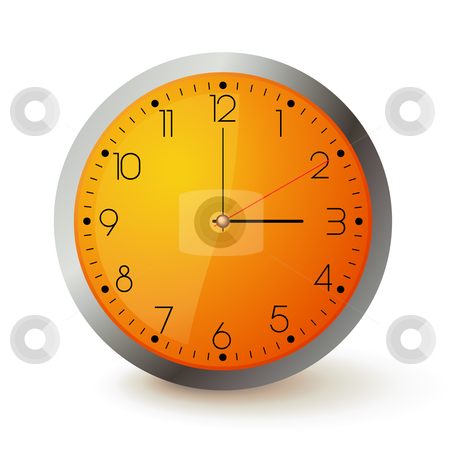 Orange clock stock vector clipart, Wall clock with orange face and metal round by Tilo