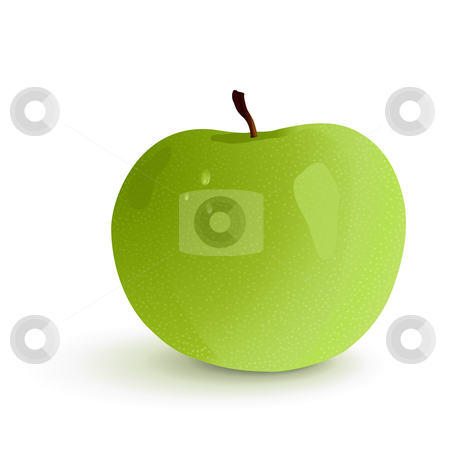 Green apple stock vector clipart, Shiny granny smith apple, vector illustration by Tilo