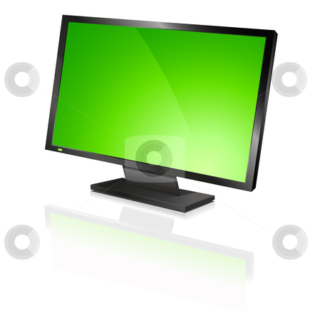 Wide screen stock vector clipart, Wide computer flat screen, orange by Tilo