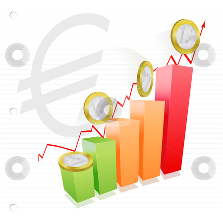 Euro chart stock vector clipart, Concept representing the strength of euro money by Tilo