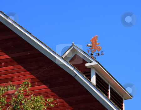 Red Barn with Weather Vane stock photo, A red barn rooftop with an old weather vane. by Steve Stedman
