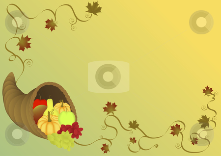 Cornucopia illustration  stock vector clipart, Cornucopia illustration background by John Teeter