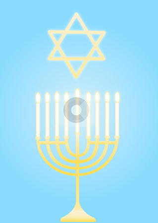 Hanukkah illustration stock vector clipart, Menorah with Star of David - Hanukkah illustration by John Teeter
