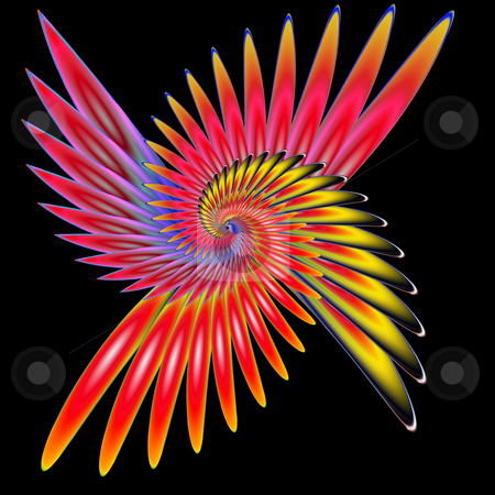 Spiral phoenix stock photo, Abstract fractal illustration of spiral fabulous bird phoenix isolated over black by Natalia Macheda