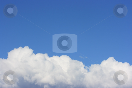 On the seventh sky stock photo, Sky background with copy space and white cumulus in the bottom making an illusion of being above clouds, on the seventh sky by Natalia Macheda