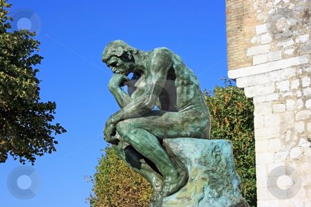 Thinker stock photo, Copy of Thinker by Auguste Rodin in Saint Paul (Southern France) by Natalia Macheda