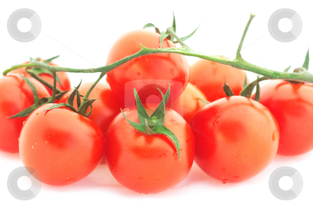 Tomato cherry stock photo, Tomato-cherry heap isolated over white by Natalia Macheda