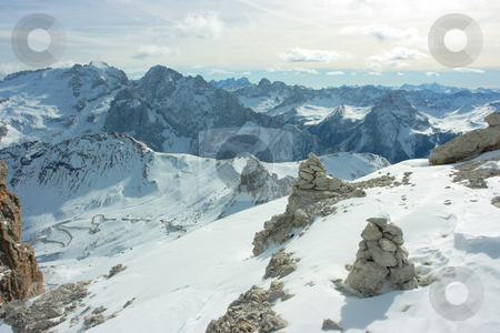 Touristic pyramid stock photo, Touristic stone pyramids against Dolomites range by Natalia Macheda