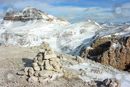 Touristic pyramid stock photo, Touristic stone pyramid against Dolomites range by Natalia Macheda