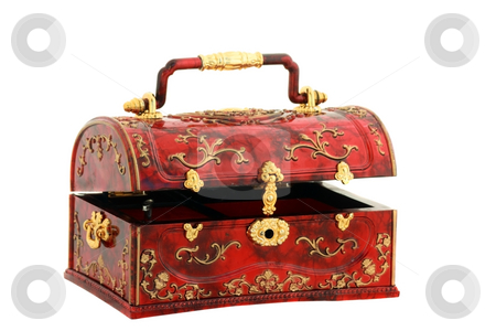 Treasure chest open stock photo, Cheap yet attractive red chest for treasures of girl. Isolated over white by Natalia Macheda