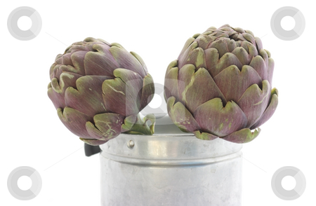 Two artichokes stock photo, Two artichokes in a small metallic bucket by Natalia Macheda