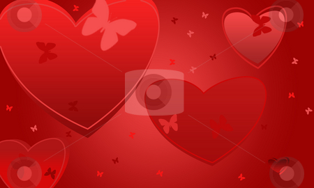 Valentines wallpaper stock photo, Romantic bachground of valentines and butterflies by Natalia Macheda