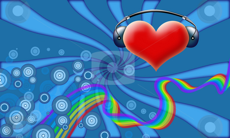 Valentine's DJ stock photo, Valentine's abstract of heart with headphones on retro background with rainbow by Natalia Macheda