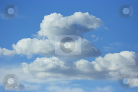 Zen clouds stock photo, A pile of three white cumulus in equilibrium. Parody on popular zen stones by Natalia Macheda
