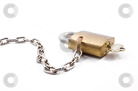 Brass Padlock stock photo, A very heavy duty industrial brass padlock. by Robert Byron