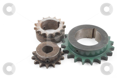 Sprockets stock photo, Industrial type sprockets - spare machine repair parts. by Robert Byron