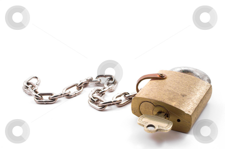 Brass Padlock stock photo, A very heavy duty industrial brass padlock. by Robert Byron