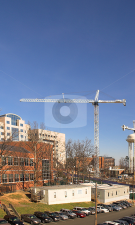 Giant Crane stock photo, A giant crane on a busy construction site. by Robert Byron