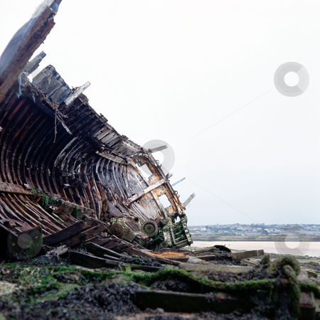 MPIXIS250302 stock photo, Boat wreck on river coast by Mpixis World