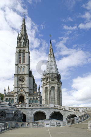 Lourdes cathedral stock photo, Close up of the Cathedral of Lourdes in France by Serge VILLA