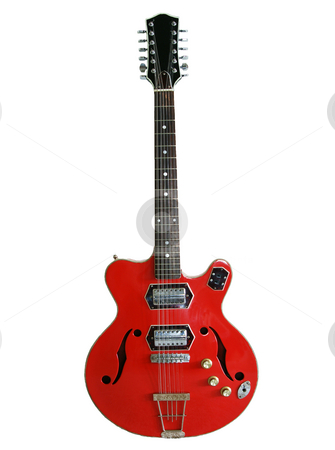 Red guitar stock photo, A red acoustic and electric guitar with sound holes by Sam Sapp