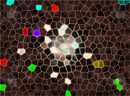 Tiles of Existence stock photo, Colorful abstract illustration with the smooth illusion of stained glass. ? by Lori Smaltz